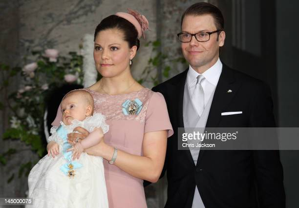 Crown Princess Victoria of Sweden and Prince Daniel of Sweden attend the christening of their daughter and new Swedish heir to the throne Princess...