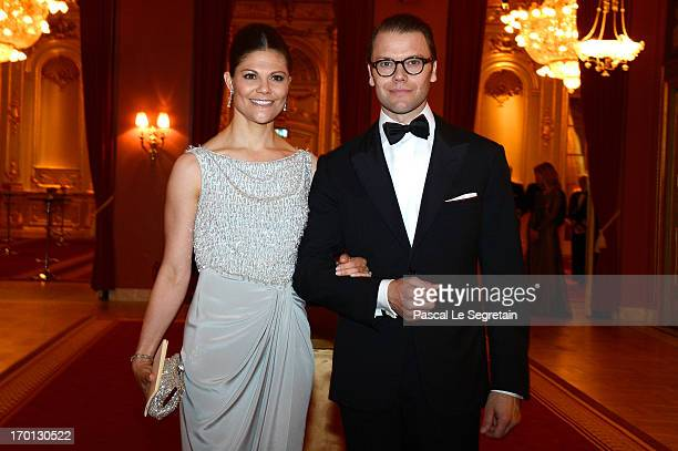 Crown Princess Victoria of Sweden and Prince Daniel of Sweden attend a private dinner on the eve of the wedding of Princess Madeleine and Christopher...