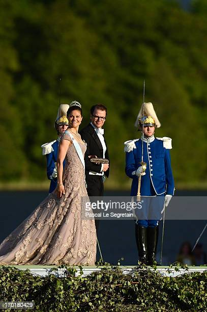 Crown Princess Victoria of Sweden and Prince Daniel of Sweden attend the evening banquet after the wedding of Princess Madeleine of Sweden and...