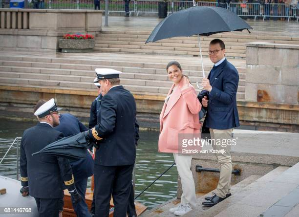Crown Princess Victoria of Sweden and Prince Daniel of Sweden attend a lunch on the Norwegian Royal yatch 'Norge'to celebrate the 80th birthdays of...