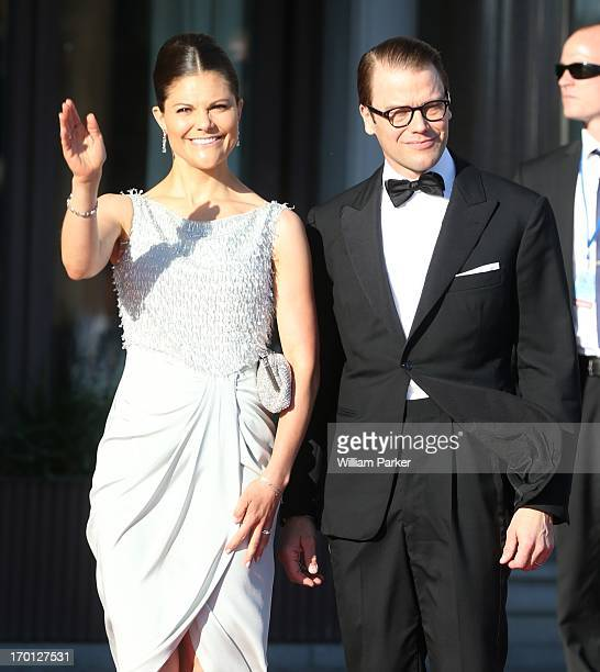 Crown Princess Victoria of Sweden and Prince Daniel of Sweden attends a private dinner on the eve of the wedding of Princess Madeleine and...