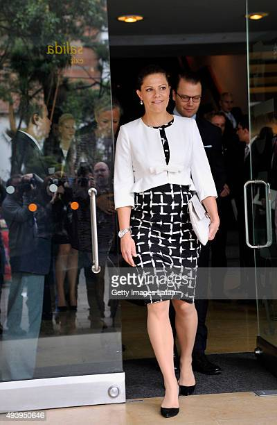 Crown Princess Victoria of Sweden and Prince Daniel of Sweden leave the Gold Museum after visiting it on October 23, 2015 in Bogota, Colombia.