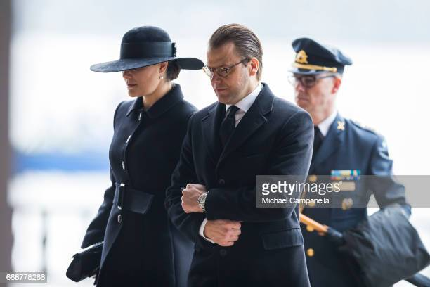 Crown Princess Victoria of Sweden and Prince Daniel of Sweden leave the city of Stockholm's official ceremony for the victims of the recent terrorist...