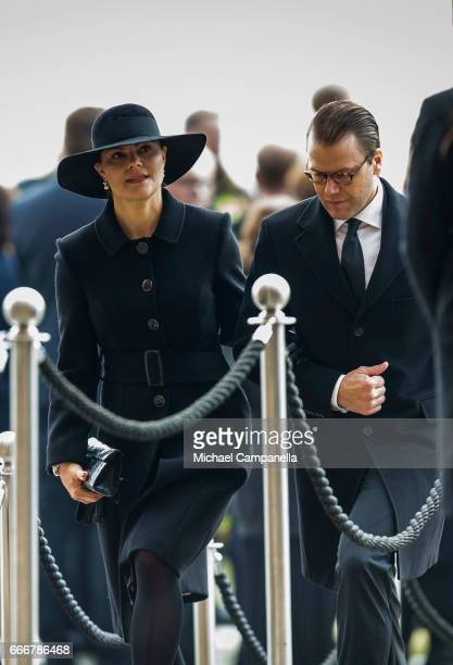 Crown Princess Victoria of Sweden and Prince Daniel of Sweden leaving the city of Stockholm's official ceremony for the victims of the recent...