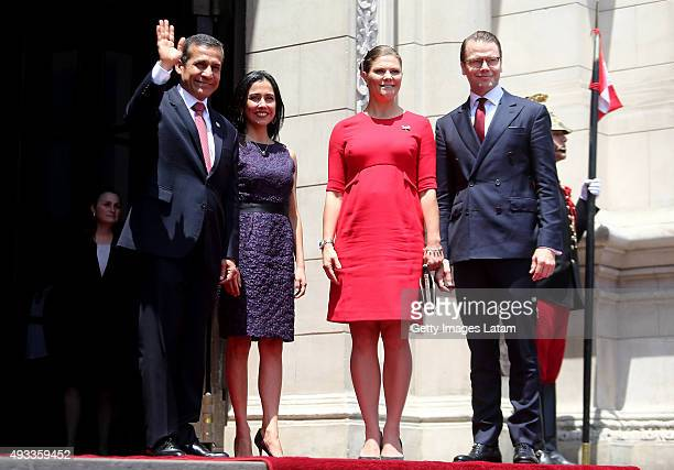 Crown Princess Victoria of Sweden and Prince Daniel of Sweden meet President of Peru Ollanta Humala and First Lady Nadine Heredia during an official...