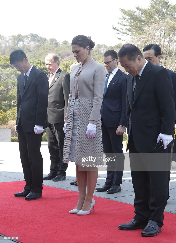Crown Princess Victoria of Sweden and Prince Daniel of Sweden pay a silent tribute at Seoul National Cemetery during their visit to South Korea on March 24, 2015 in Seoul, South Korea. H.R.H the Crown Princess of Sweden Victoria is visiting South Korea from March 23 to 24.