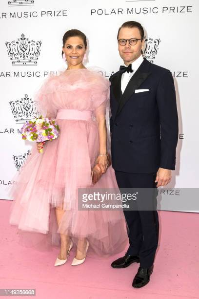 Crown Princess Victoria of Sweden and Prince Daniel of Sweden pose on the red carpet during the 2019 Polar Music Prize award ceremony on June 11,...