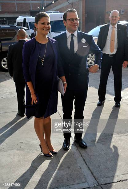 Crown Princess Victoria of Sweden and Prince Daniel of Sweden smiles during a visit to the enterprise driven project 'Ruta Motor' on October 22, 2015...