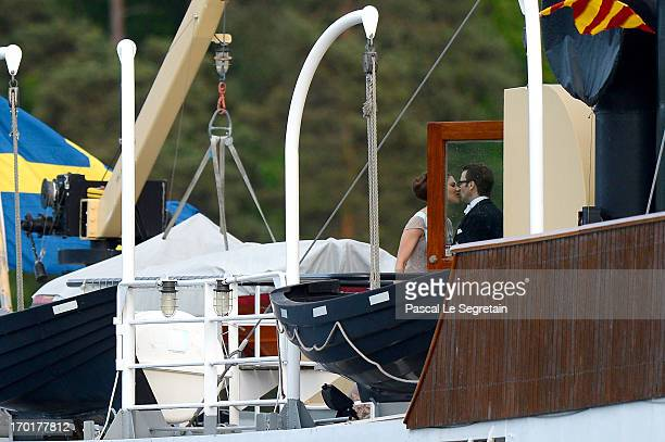 Crown Princess Victoria of Sweden and Prince Daniel of Sweden travel by boat to Drottningholm Palace for dinner after the wedding ceremony of...