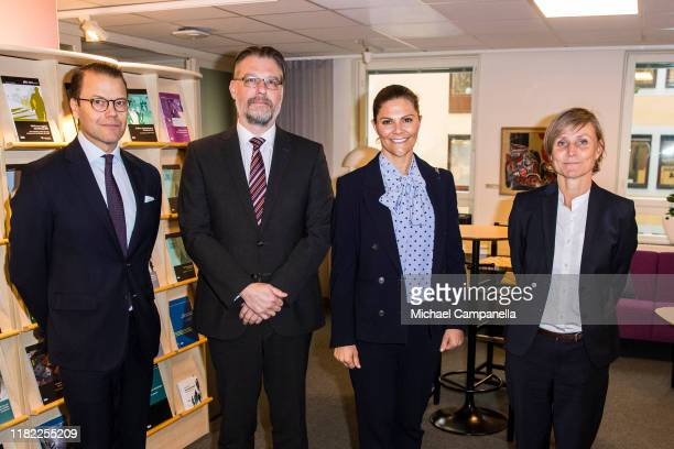 Crown Princess Victoria of Sweden and Prince Daniel of Sweden visit the Crime Prevention Council and are greeted by Bjorn Borschos and Anna...