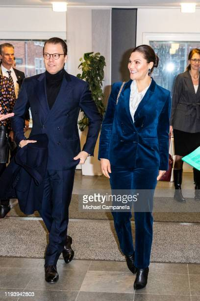 Crown Princess Victoria of Sweden and Prince Daniel of Sweden visit the National Board Of Health And Welfare at their office on January 16, 2020 in...