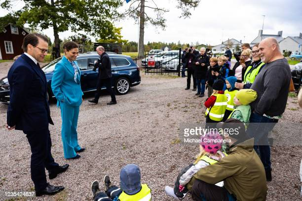 Crown Princess Victoria of Sweden and Prince Daniel of Sweden visit Wetterlings axe factory during a visit to province of Gavleborg to discuss with...