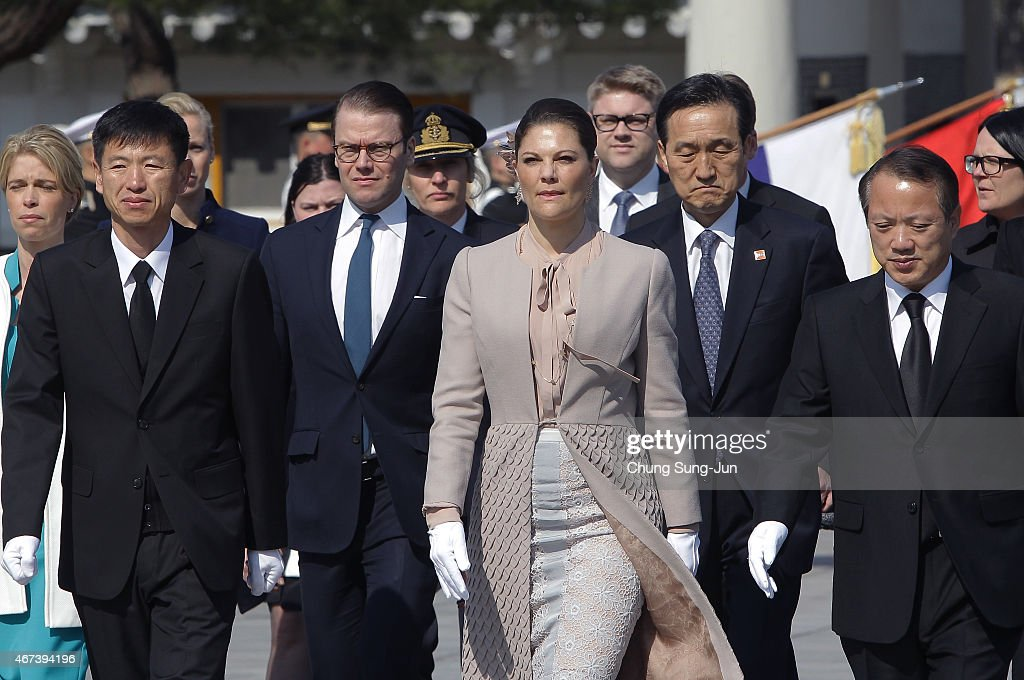 Crown Princess Victoria of Sweden and Prince Daniel of Sweden visit at Seoul National Cemetery during their visit to South Korea on March 24, 2015 in Seoul, South Korea. H.R.H the Crown Princess of Sweden Victoria is visiting South Korea from March 23 to 24.
