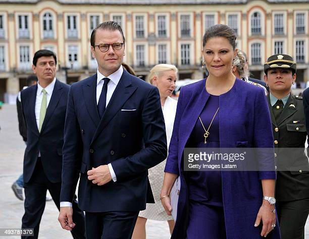 Crown Princess Victoria of Sweden and Prince Daniel of Sweden visit Bogota's main square after having a private meeting with Colombia's president...
