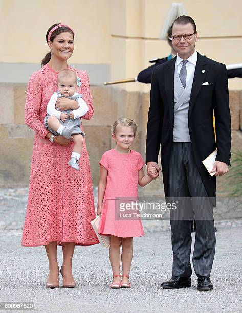 Crown Princess Victoria of Sweden and Prince Daniel of Sweden, with their children Prince Oscar and Princess Estelle of Sweden attend the christening...