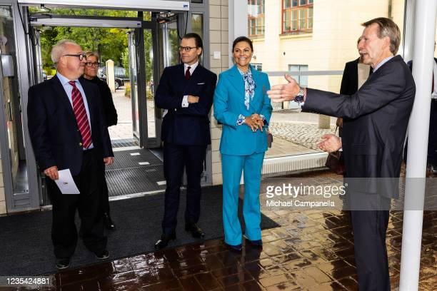 Crown Princess Victoria of Sweden and Prince Daniel visit Hogskolan i Gavle during a visit to the province of Gavleborg to discuss with locals the...