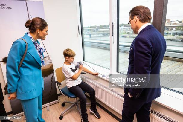Crown Princess Victoria of Sweden and Prince Daniel visits Tullhuset and meet with patient William Sjodin, who together with digital care developer...