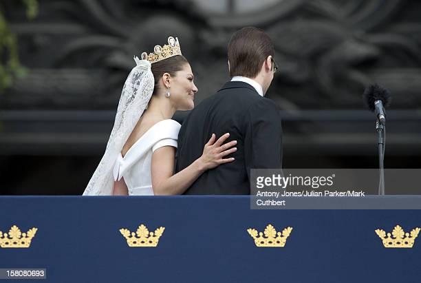 Crown Princess Victoria Of Sweden And Prince Daniel Westling Wave To The Crowds From The Balcony Of The Royal Palace After Their Wedding In Stockholm...