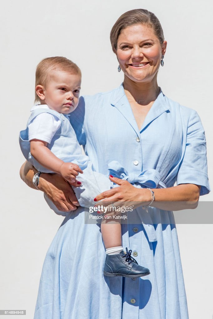 Crown Princess Victoria of Sweden and Prince Oscar is seen meeting the people gathered in front of Solliden Palace to celebrate the 40th birthday of Crown Princess Victoria of Sweden on July 15, 2017 in Borgholm, Sweden.