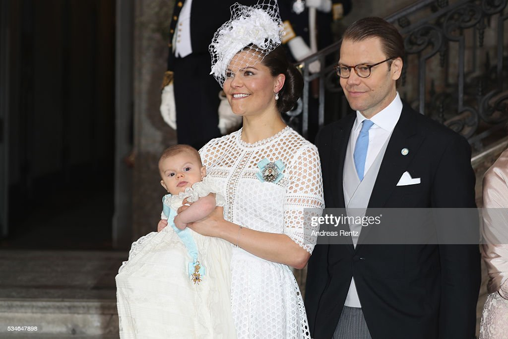 Crown Princess Victoria of Sweden and Prince Oscar of Sweden and Prince Daniel of Sweden are seen at Royal Palace of Stockholm for the Christening of Prince Oscar of Sweden on May 27, 2016 in Stockholm, Sweden.