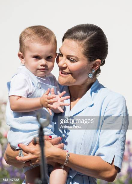 Crown Princess Victoria of Sweden and Prince Oscar of Sweden are seen meeting the people gathered in front of Solliden Palace to celebrate the 40th...