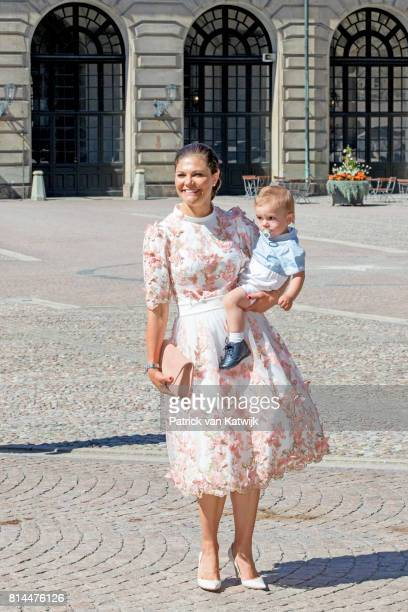 Crown Princess Victoria of Sweden and Prince Oscar of Sweden arrive for a thanksgiving service on the occasion of The Crown Princess Victoria of...