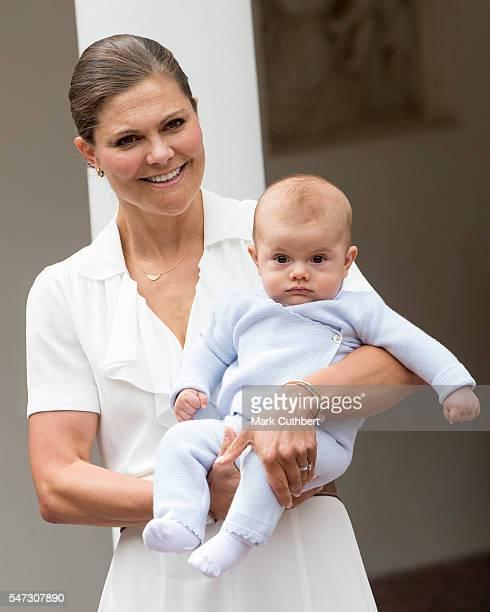 Crown Princess Victoria of Sweden and Prince Oscar of Sweden at the 39th birthday celebrations for Crown Princess Victoria at Solliden on July 14...