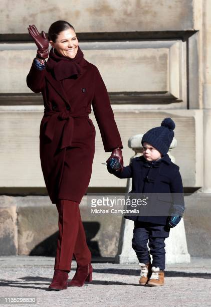 Crown Princess Victoria of Sweden and Prince Oscar of Sweden attend the Crown Princess' Name Day celebrations at the Stockholm Royal Palace on March...