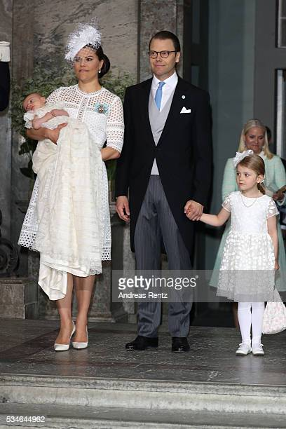 Crown Princess Victoria of Sweden and Prince Oscar of Sweden Prince Daniel of Sweden and Princess Estelle of Sweden are seen at Royal Palace of...
