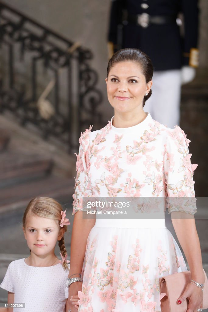Crown Princess Victoria of Sweden (R) and Princess Estelle of Sweden arrive for a thanksgiving service on the occasion of The Crown Princess Victoria of Sweden's 40th birthday celebrations at the Royal Palace on July 14, 2017 in Stockholm, Sweden. The celebrations in Stockholm end with the Crown Princess Family being escorted from the Royal Palace to the Royal Stables in a horse drawn carriage.