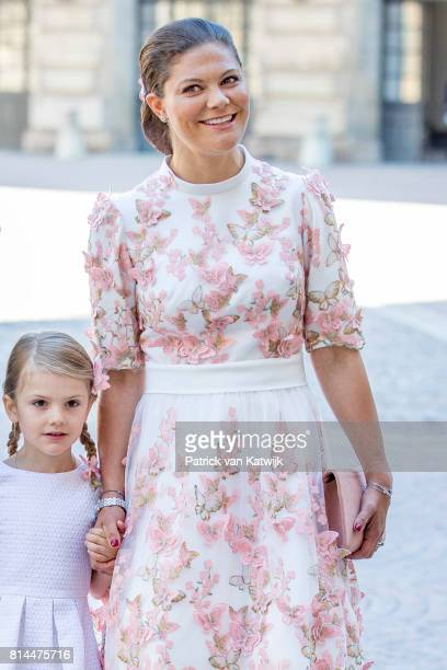 Crown Princess Victoria of Sweden and Princess Estelle of Sweden arrive for a thanksgiving service on the occasion of The Crown Princess Victoria of...