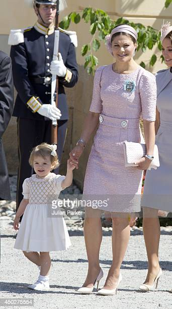 Crown Princess Victoria of Sweden and Princess Estelle of Sweden attend the Christening of Princess Leonore of Sweden at the Royal Chapel, at...
