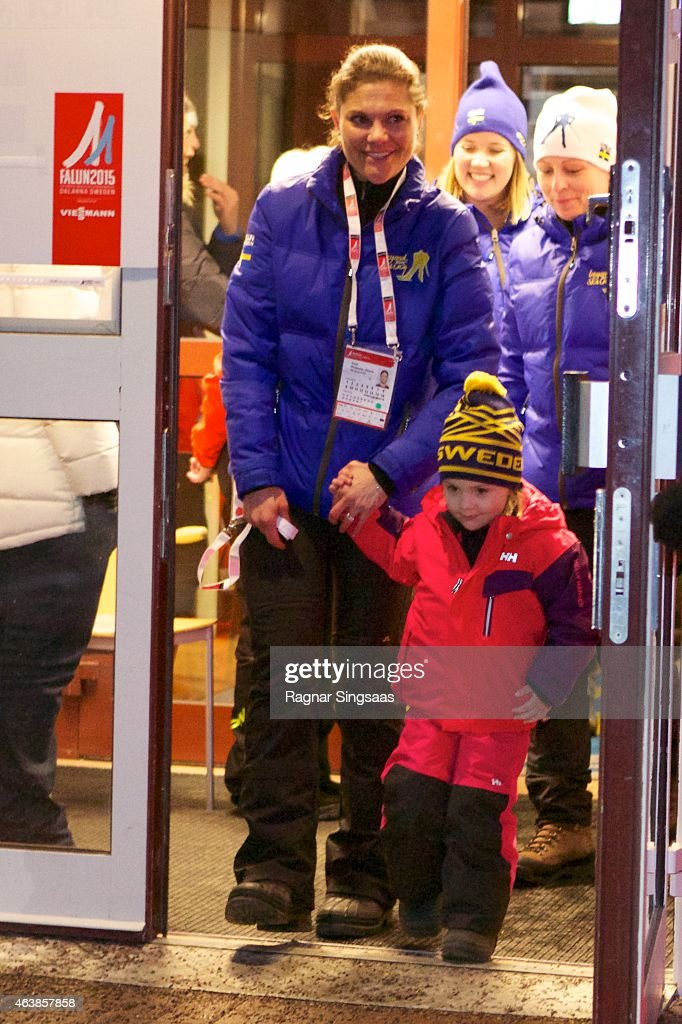 Crown Princess Victoria of Sweden and Princess Estelle of Sweden attend the opening of the FIS Nordic World Ski Championships on February 19, 2015 in Falun, Sweden.