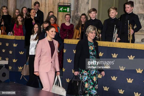 Crown Princess Victoria of Sweden and Princess Laurentien of the Netherlands attend the Global Child Forum 2018 at the Stockholm Palace on April 11...