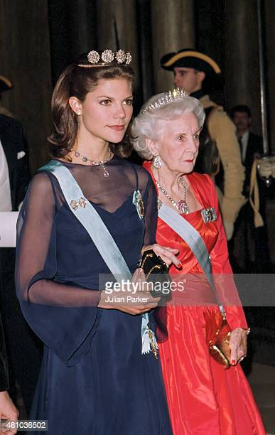 Crown Princess Victoria of Sweden, and Princess Lillian of Sweden attend a State Banquet at The Royal Palace, Stockholm, during the Russian State...