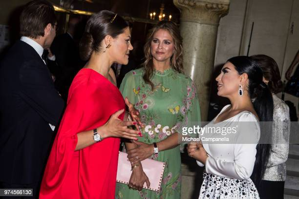 Crown Princess Victoria of Sweden and Princess Madeleine of Sweden speak with Aryana Sayeed the 2018 Polar Music Prize award ceremony at the Grand...