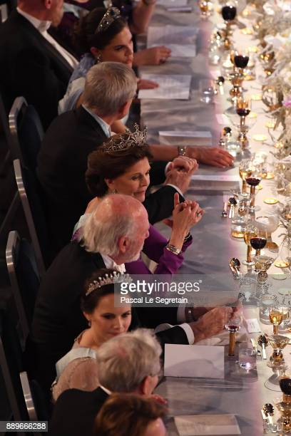 Crown Princess Victoria of Sweden and Princess SOfia of Sweden attend the Nobel Prize Banquet 2017 at City Hall on December 10 2017 in Stockholm...