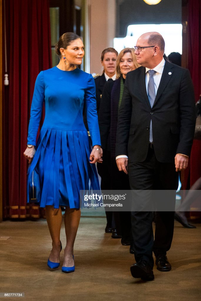 Crown Princess Victoria of Sweden and the Speaker of the Riksdag Urban Ahlin attend a seminar at Riksdag in connection with the centenary of Finnish Independence on October 18, 2017 in Stockholm, Sweden.