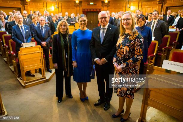 Crown Princess Victoria of Sweden and the Speaker of the Riksdag Urban Ahlin attend a seminar at Riksdag in connection with the centenary of Finnish...