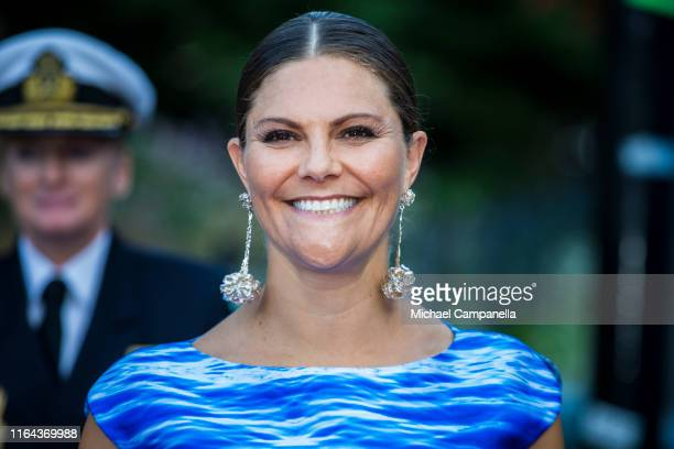 Crown Princess Victoria of Sweden arrives at a ceremony for the Stockholm Junior Water Prize at the Berns Hotel on August 27, 2019 in Stockholm,...