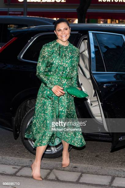 """Crown Princess Victoria of Sweden arrives at a seminarium """"A conversation about water"""" hosted by the organization WaterAid at Teater Pero on March..."""