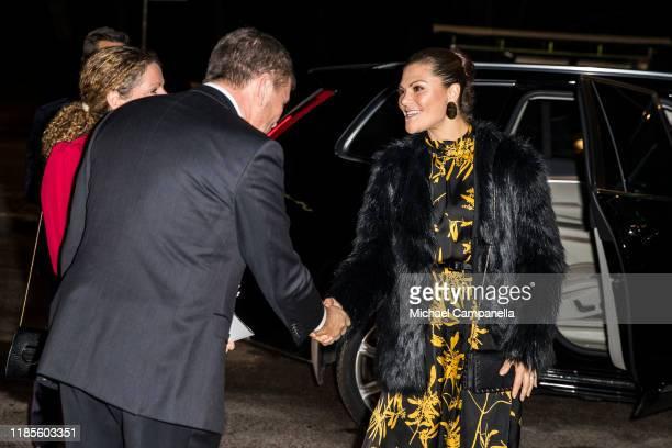 Crown Princess Victoria of Sweden arrives at Berwaldhallen to attend a concert in celebration of Berwaldhallens 40th anniversary on November 30, 2019...
