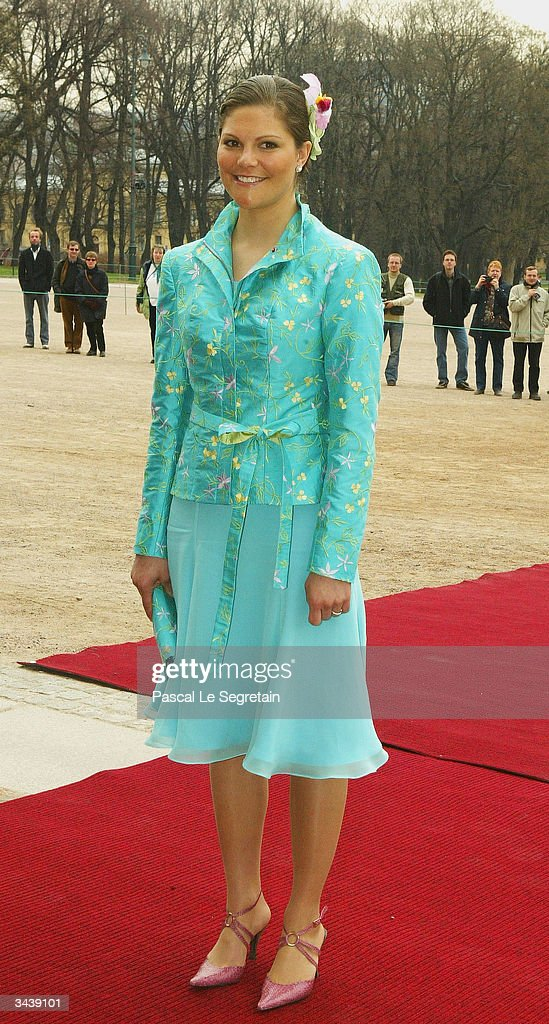 Crown Princess Victoria of Sweden arrives at the christening of Princess Ingrid Alexandra - at the chapel inside The Royal Palace on April 16, 2004 in Oslo, Norway. The Princess was born on January 21, 2004 and is second in line to the throne.