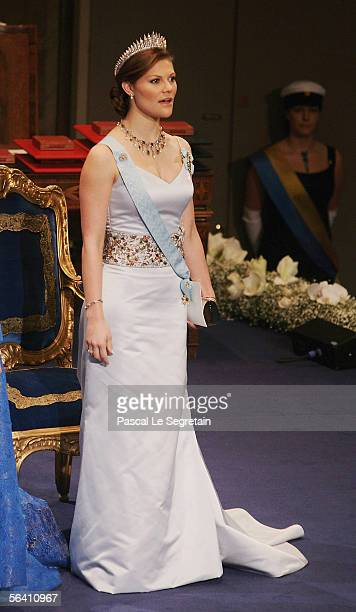 Crown Princess Victoria of Sweden arrives at the Nobel Foundation Prize 2005 at the Concert Hall on December 10 2005 in Stockholm Sweden