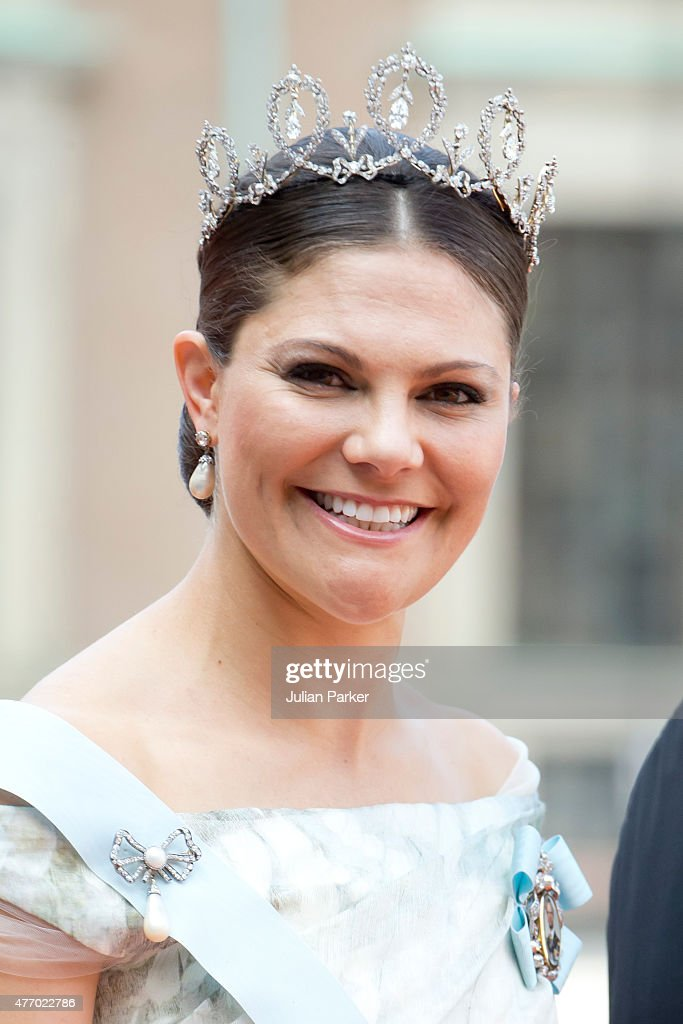 Crown Princess Victoria of Sweden, arrives at The Royal Chapel, at The Royal Palace in Stockholm for The Wedding of Prince Carl Philip of Sweden and Sofia Hellqvist on June 13, 2015 in Stockholm, Sweden.