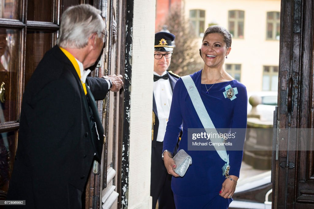 Crown Princess Victoria of Sweden arrives at the Royal Patriotic Society's annual event at Riddarhuset on April 25, 2017 in Stockholm, Sweden.