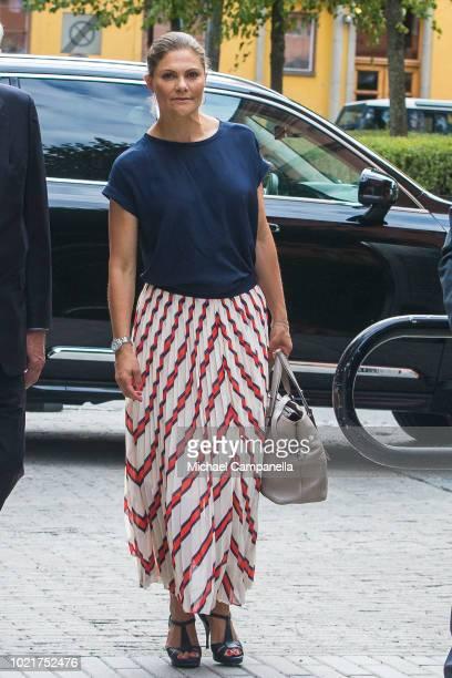Crown Princess Victoria of Sweden arrives at the Stockholm International Water Institute on August 23 2018 in Stockholm Sweden