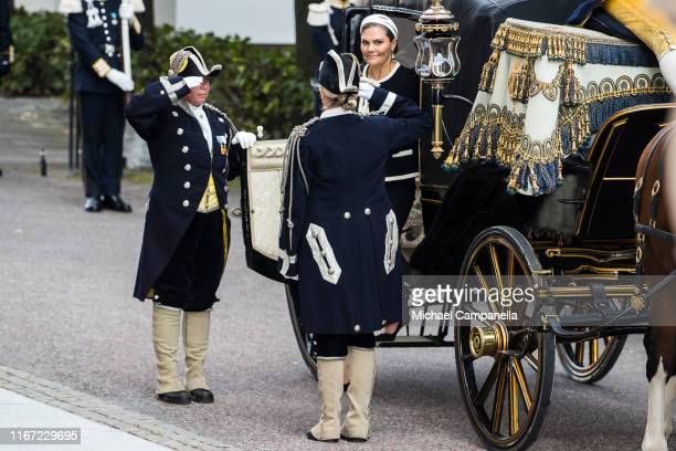 Crown Princess Victoria of Sweden arrives at the Swedish Parliament House for the opening of the new parliamentary session on September 10, 2019 in...