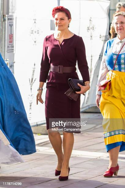 Crown Princess Victoria of Sweden arrives at Uppsala Cathedral for a ceremony in connection with the annual meeting of the Swedish Church on October...