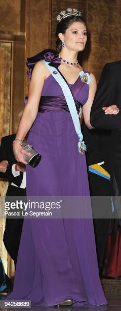 Crown Princess Victoria of Sweden arrives during the Nobel Foundation Prize Banquet 2009 at the Town Hall on December 10 2009 in Stockholm Sweden